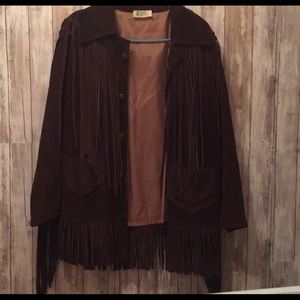 Jackets & Blazers - Vintage Mexican brown leather fringe coat